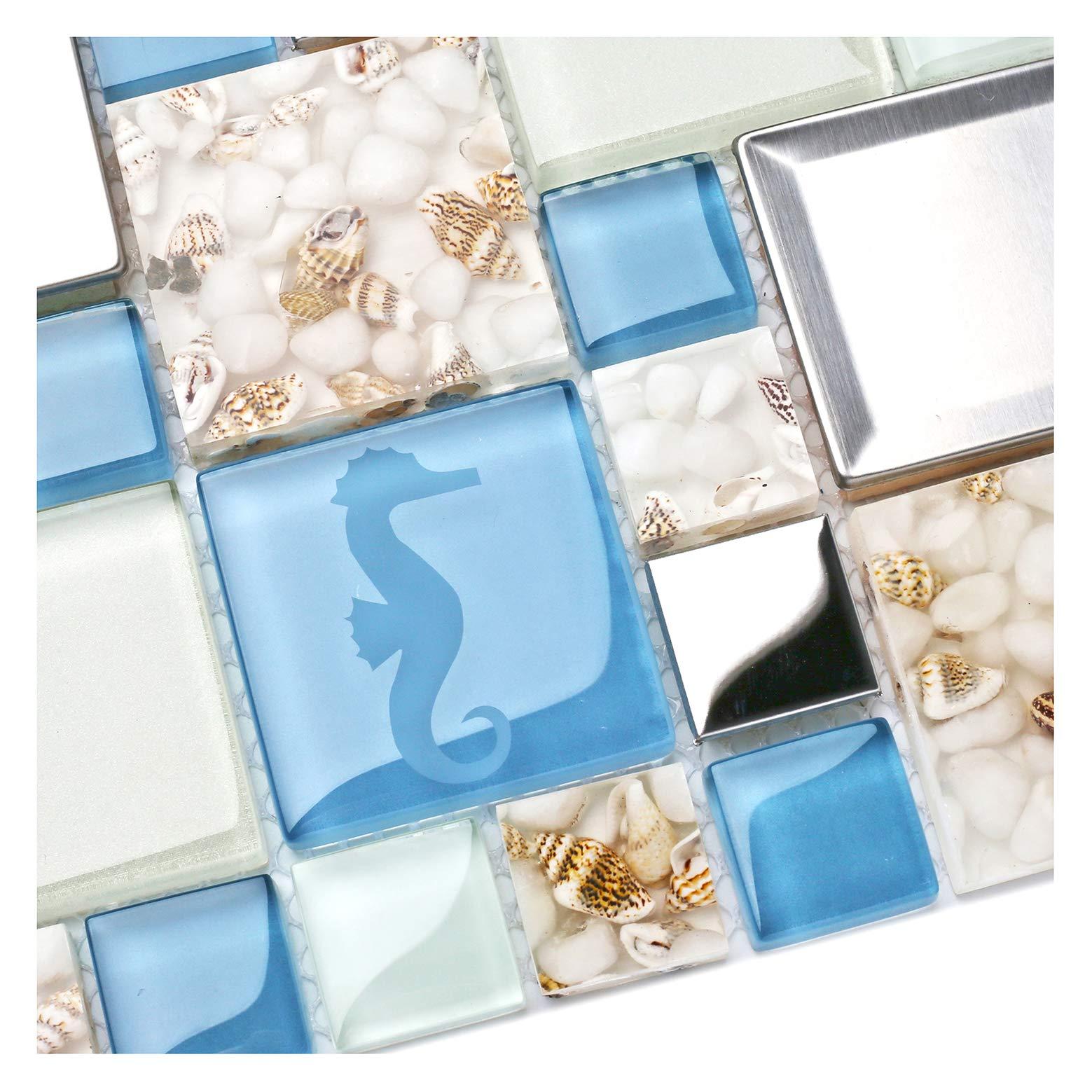 New Idea Tile Kitchen Bath Backsplash Accent Wall Decor TST Glass Metal Tile Marine Animals Icon Beach Style Inner Conch Sea Blue Mosaic Tiles TSTNB11 (5 Square Feet)