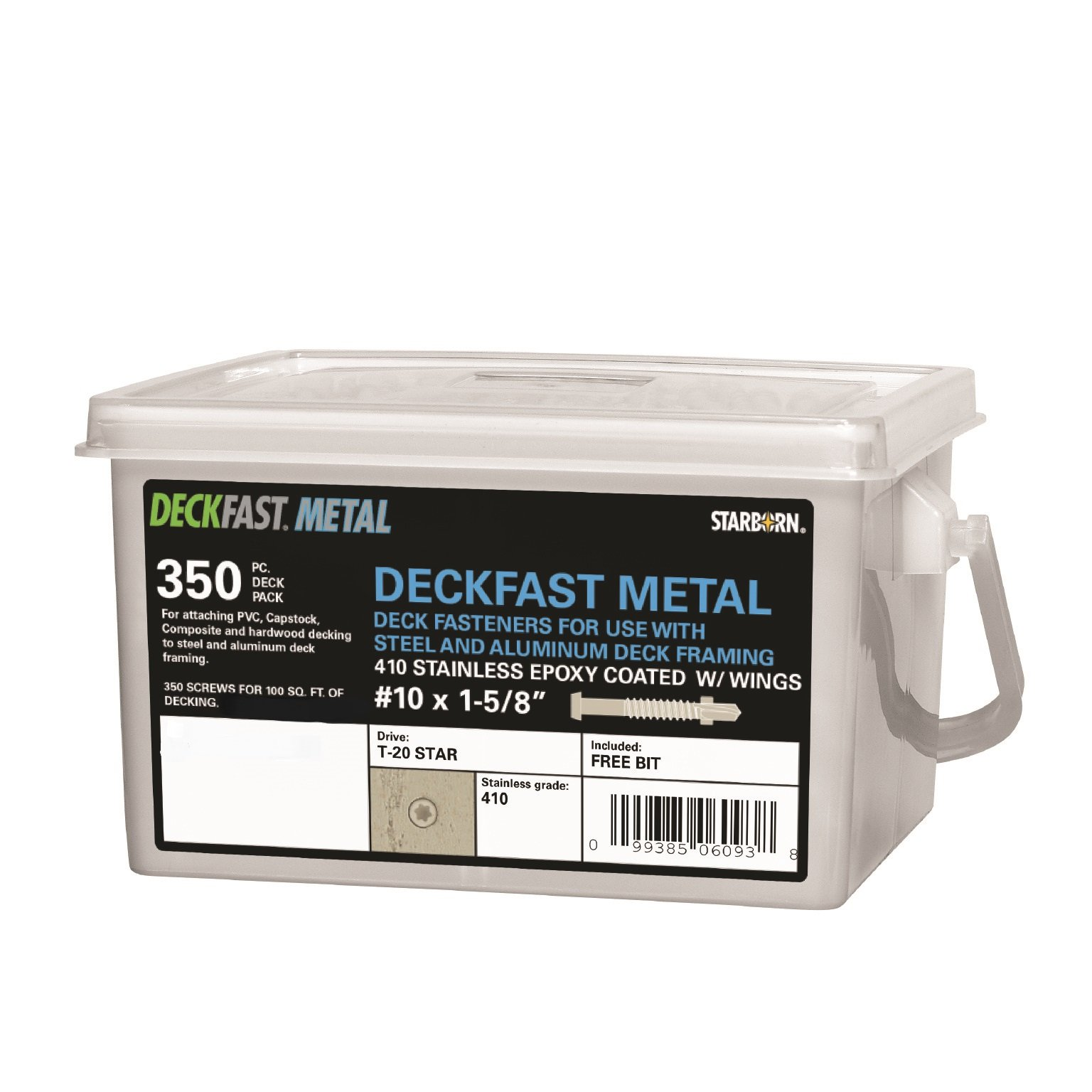 Deckfast Metal - Chocolate (#71) - 350 pc. Deck Pack - 1-5/8'' Self Drill - Type 410 Stainless Steel Deck Fastener for Use With Metal Joists & Trex Elevations