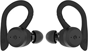 True Wireless Earbuds Bluetooth 5.0 Headphones, Sports in-Ear TWS Stereo Mini Headset w/Mic HiFi Bass IPX7 Waterproof, One Step Instant Pairing Case Noise Cancelling Earphones (Black)