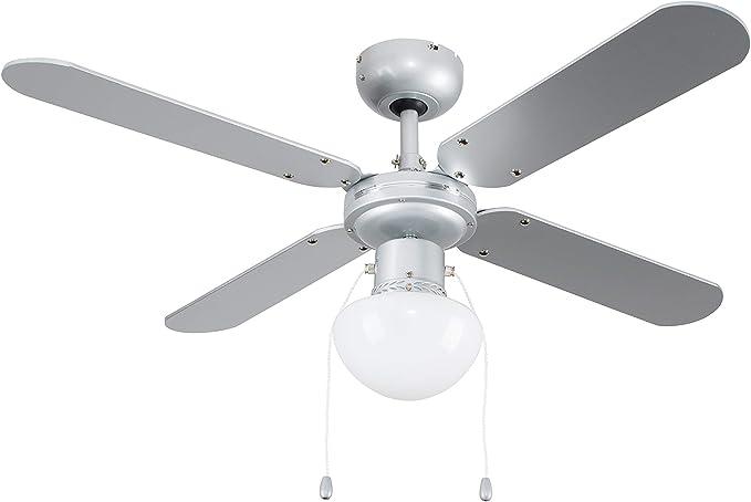 MiniSun - Ventilador de Techo con Luz LED/Tamaño Medio 102cm - Silencioso Interruptor de Cuerda - 4 Aspas Reversibles en Gris y Negro Pulido - 3 Velocidades - Motor DC: Amazon.es: Iluminación