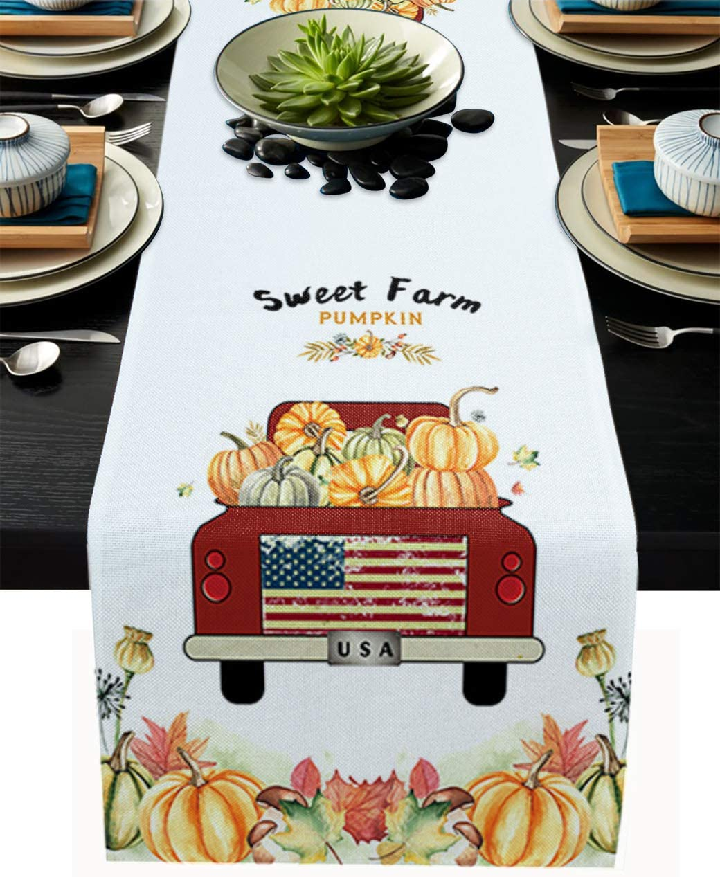 Greeeen Cotton Linen Table Runner 13 x 70 inch Fall Pumpkin Patch Truck Kitchen Table Runners for Family Dinner, Banquet, Parties and Celebrations Autumn Farmhouse Market Table Decor
