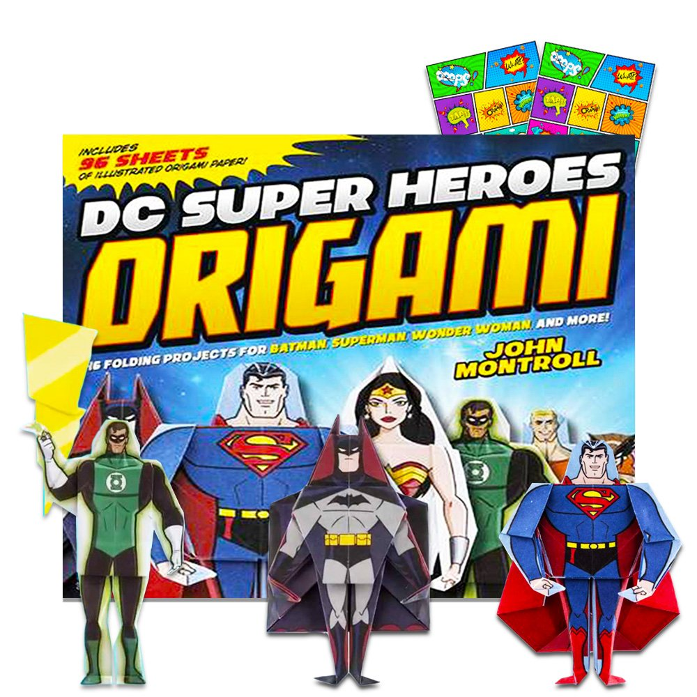 DC Comics Origami Book for Kids - Giant Superhero Paper Folding Kit with Origami Paper, Instructions and Bonus Stickers (46 Projects Featuring Batman, Wonder Woman, Superman and More) Paper Folding for Kids