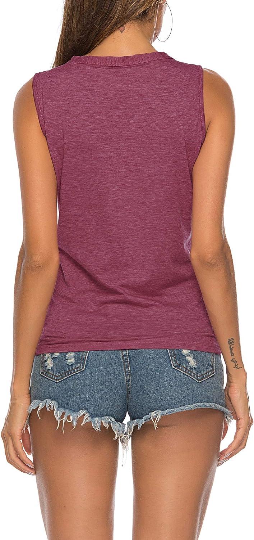 Romanstii Canotte e Top Donna T-Shirt Camicetta Smanicata Bluse con Scollo a V