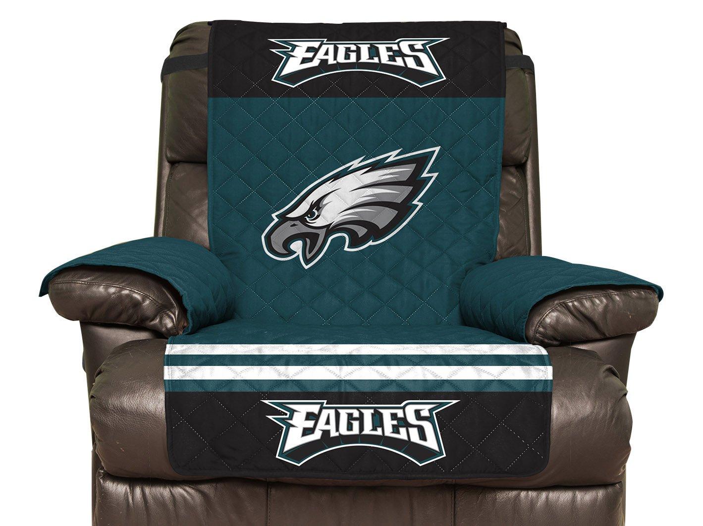 Pegasus Home Fashions NFL Recliner Furniture Protector with Elastic Straps, 80 x 65, Philadelphia Eagles