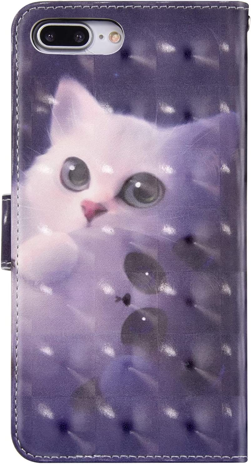 Robinsoni Case Compatible with iPhone 7 Plus Phone Case Wallet PU Leather Glossy Shockproof Case Kickstand Notebook Cover Folio Flip Stand Book Style Case TPU Inner Silicone Cartoon Animal Case Deers