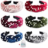EAONE Pearl Headbands 6 Colors, Knotted Headbands for Women Fashion Turban Headband Hair Bands Wide Headbands Accessories for Girls with 1 Pouch Bag