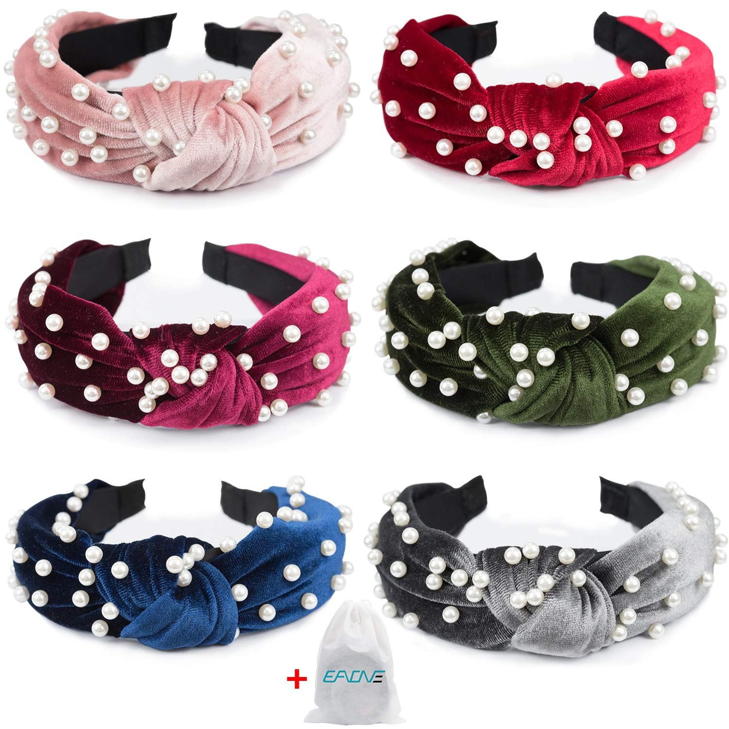 EAONE Pearl Headbands 6 Colors  Knotted Headbands for Women Fashion Turban Headband Hair Bands Wide Headbands Accessories for Girls with 1 Pouch Bag
