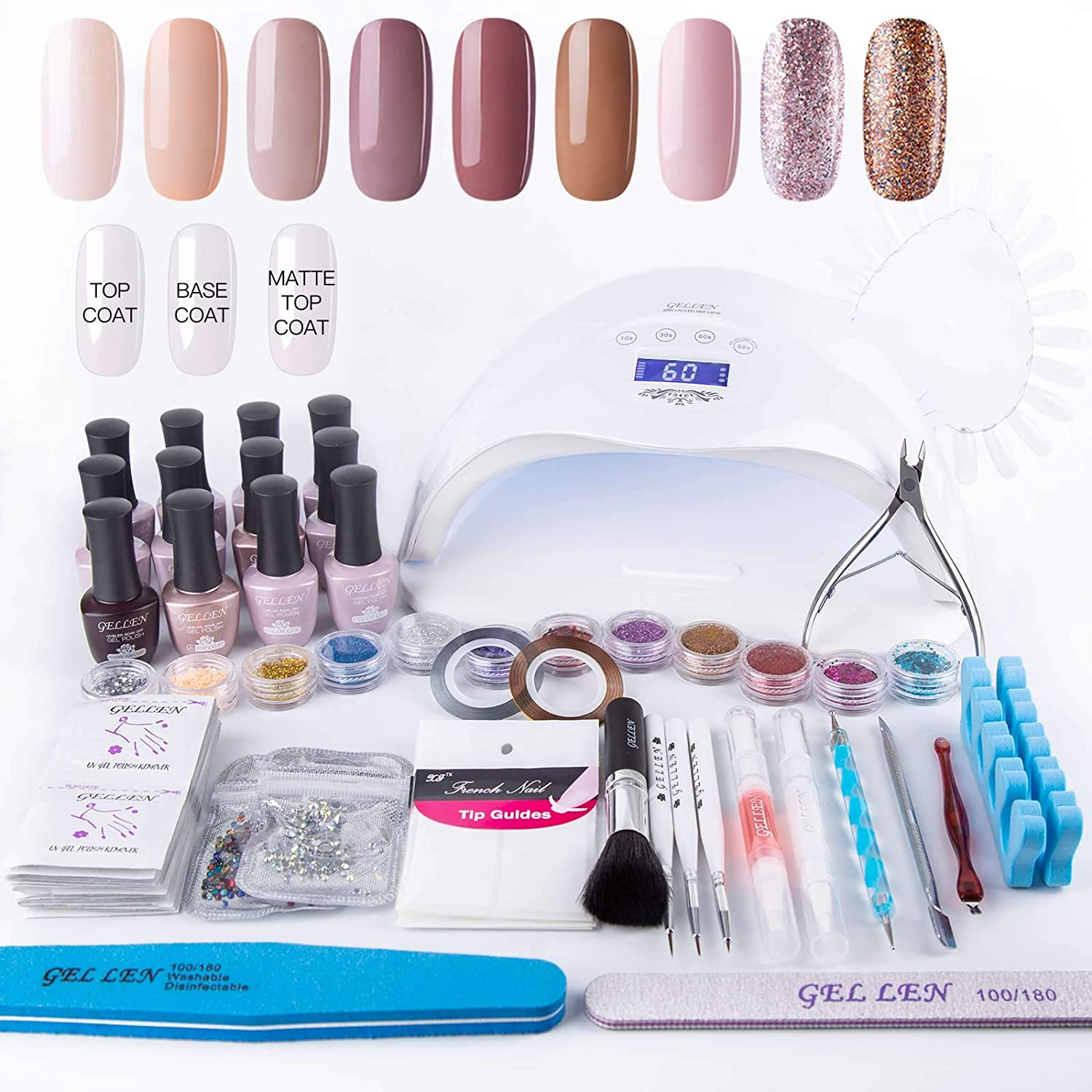 Gellen Home Nail Gel Starter Kit with Holiday Gift Bag 48W Nail Lamp, Selected 9 Colors Top Coat Base Coat, Luxury Manicure Tools Popular Nail Art Decorations #1