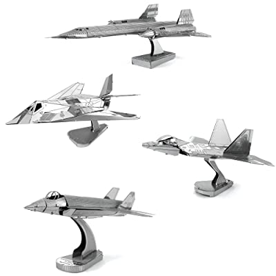 Fascinations Metal Earth 3D Metal Model Kits Lockheed Martin Set of 4 - SR-71 Blackbird - F-22 Raptor - F-35 Lightning II - F-117 Nighthawk: Toys & Games