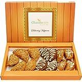 Ghasitaram Gifts Holi Sweets-Ghasitaram's Roasted Til/Sesame, Traditional Gujiyas Box and Chocolate Gujiyas Box