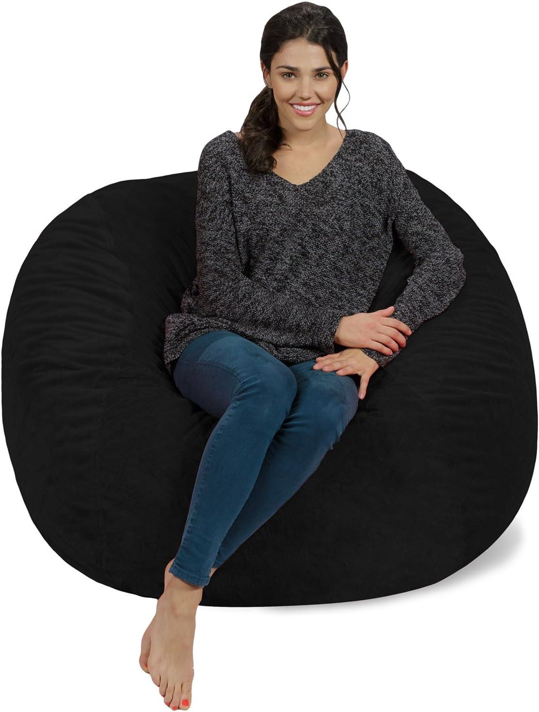 Chill Sack Bean Bag Chair: Giant 4' Memory Foam Furniture Bean Bag - Big Sofa with Soft Micro Fiber Cover - Black Furry