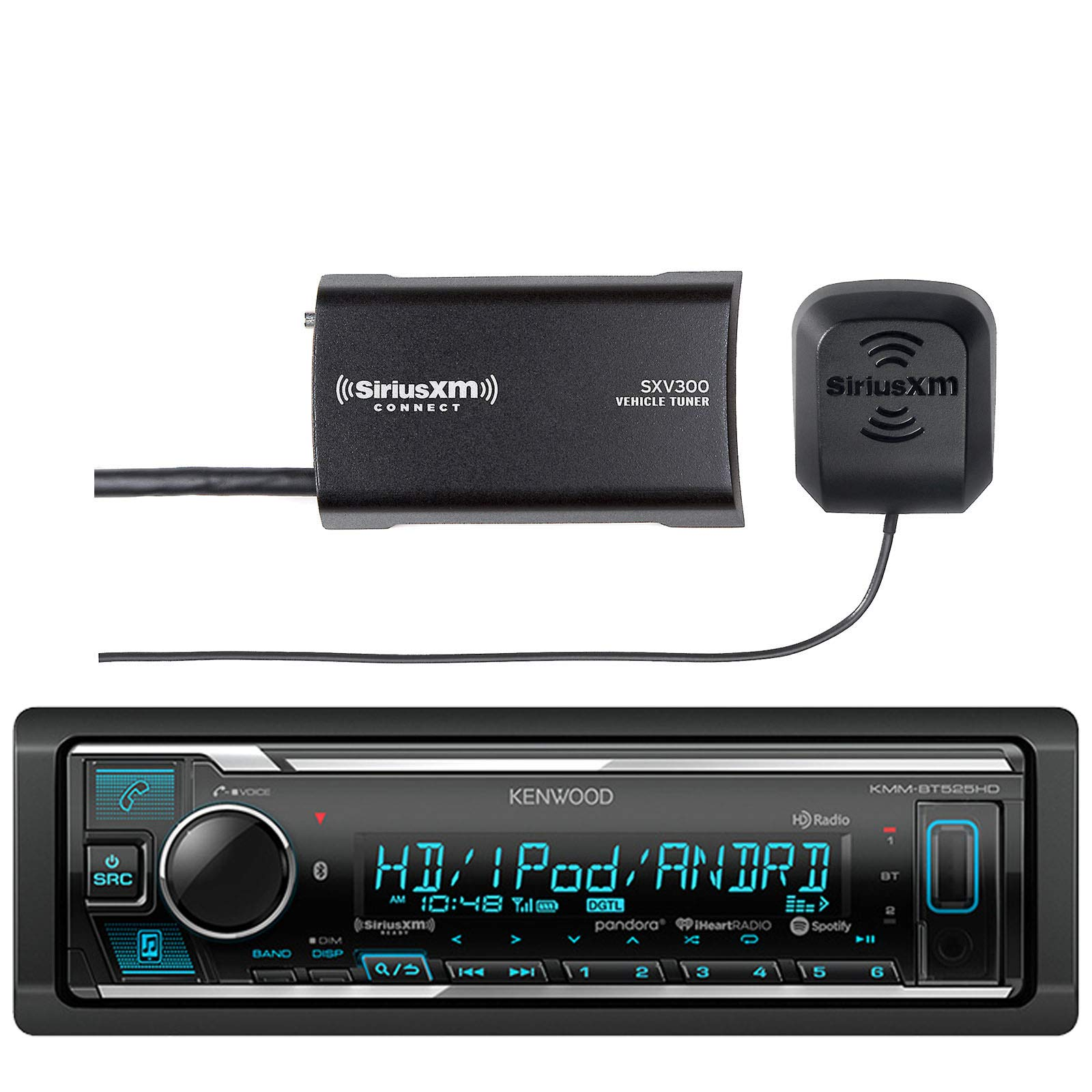 Kenwood in-Dash Stereo Receiver, Bluetooth, HD Radio, Pandora, iheart Radio Radio with Sirius Vehicle Satellite Radio Tuner