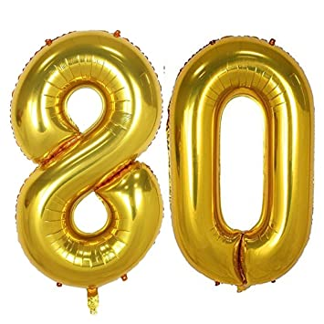 40inch Gold Foil 80 Helium Jumbo Digital Number Balloons 80th Birthday Decoration For Girls Or