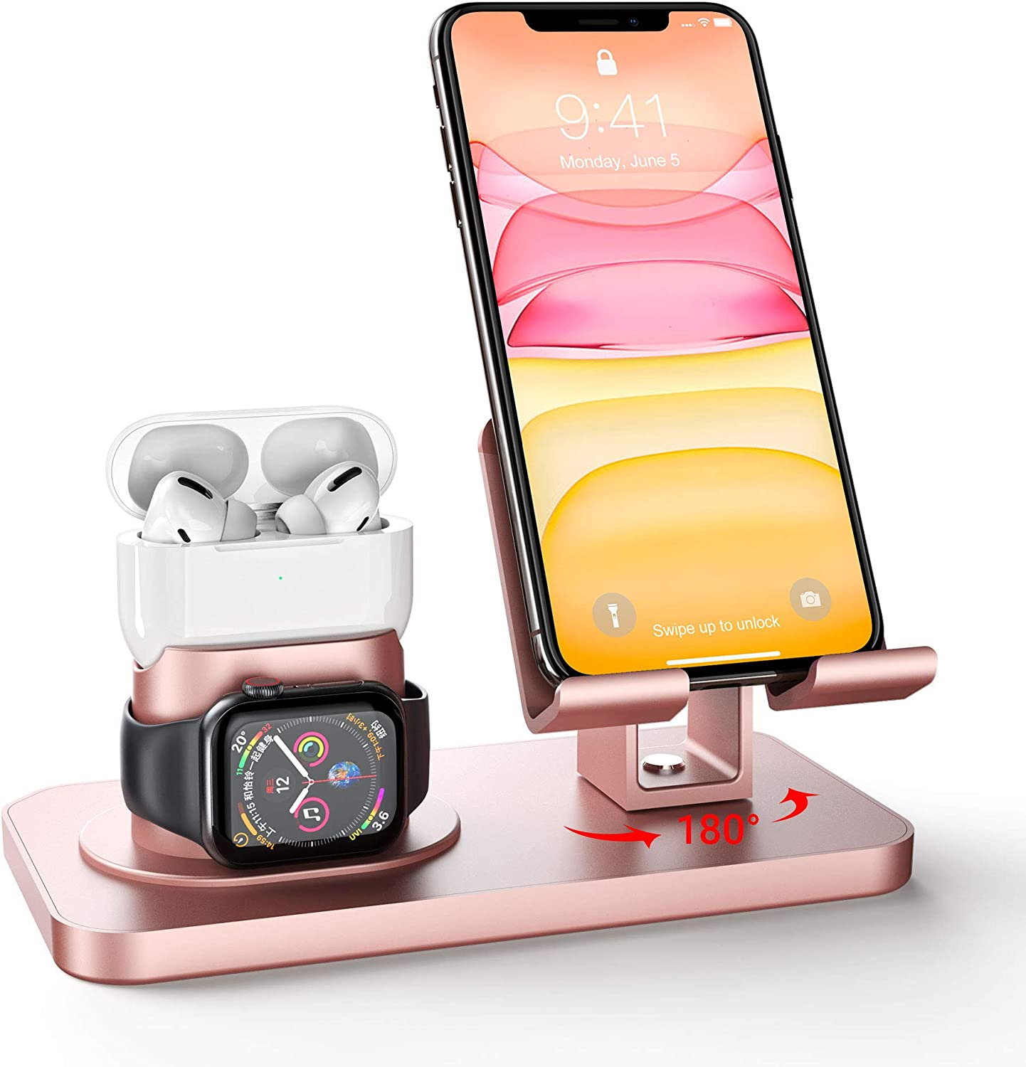 Imguardz 3-in-1 Charging Stand, Universal Charging Dock Station for Airpods Pro 2/1, iWatch Series 5/4/3/2/1 and iPhone 11/XR/X/Xs/Max/8/8 Plus/7/7 Plus/6s/6s Plus/5/SE, iPad Tablet, Rose Gold