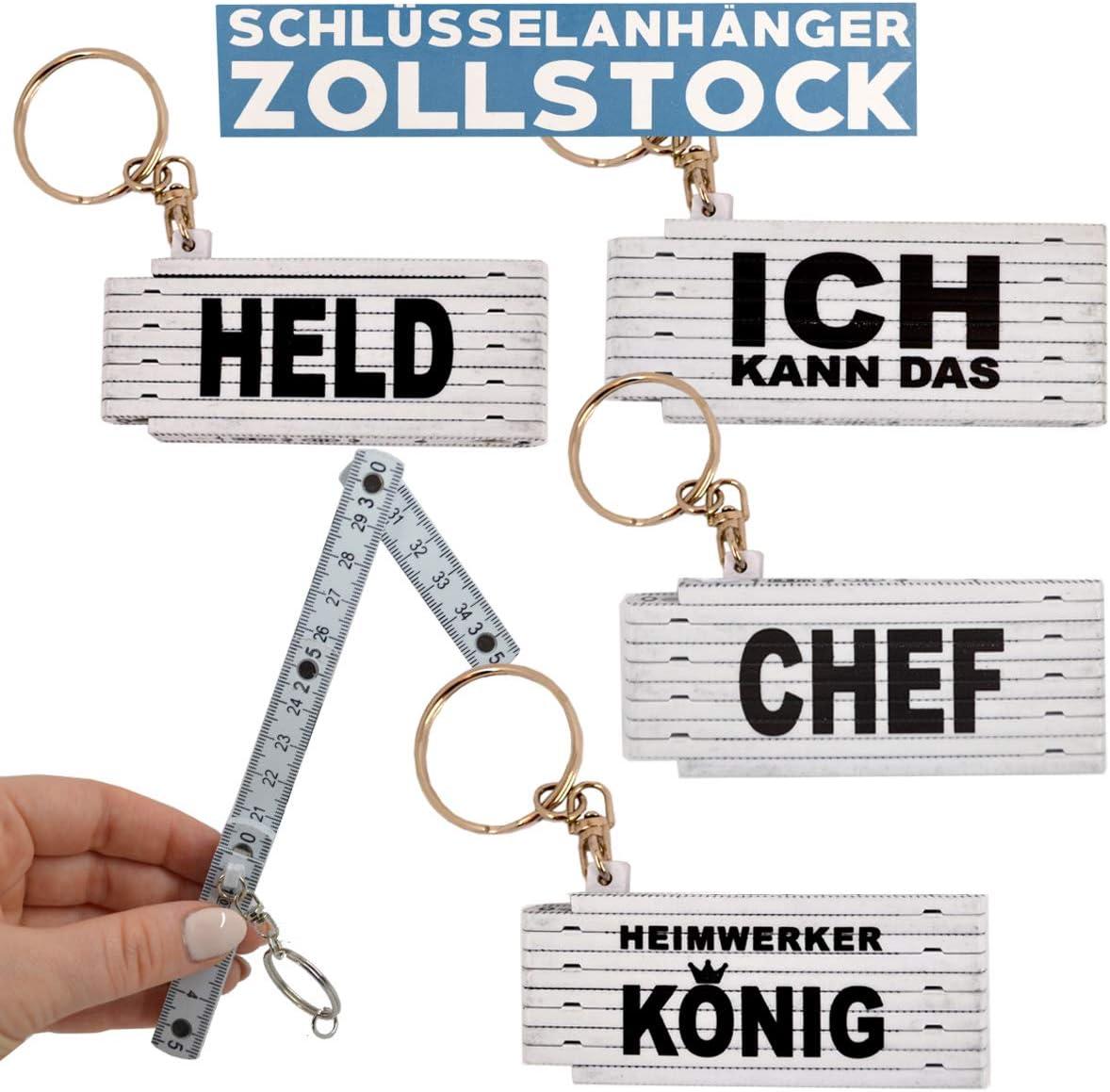 G/&M Schl/üsselanh/änger Zollstock Mini Spruch 4er Set 50cm Gliederma/ßstab Vatertag Heimwerker Werkstatt Wei/ß