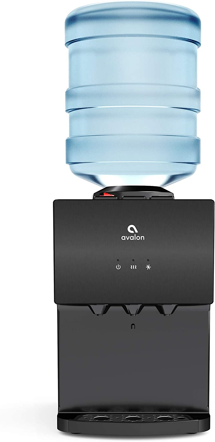 Avalon A11BLK 3 Temperature Top Loading Countertop Water Cooler Dispenser With Child Safety Lock. UL/Energy Star Approved- Black Stainless Steel