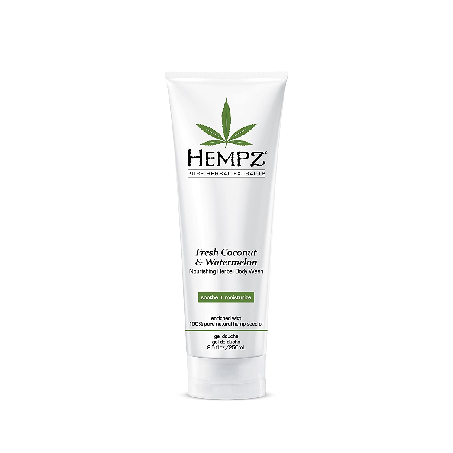Hempz Fresh Coconut and Watermelon Nourishing Herbal Body Wash, 8.5 oz. - Scented Shower Gel, Bath Soap with Anti-Aging Serum for Youthful Skin - Fragranced Shower Cream with Chamomile - Vegan