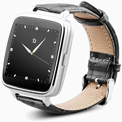 BIT S1S S1 Smart Watch Silver/Black Leather Strap Android