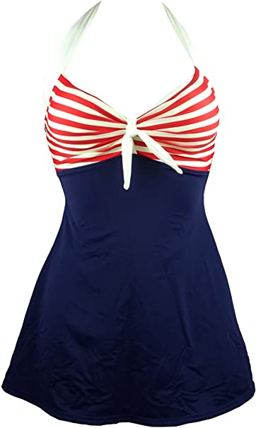 Image result for Cocoship vintage sailor pin up swimsuit retro one piece skirtini cover up swimdress