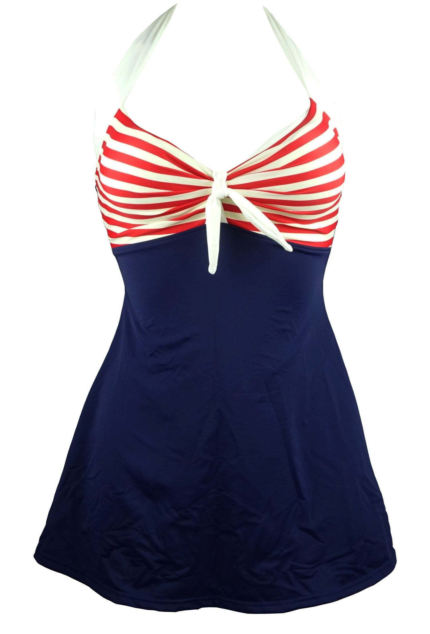 Cocoship Navy Blue & Red White Striped Vintage Sailor Pin Up Swimsuit One Piece Skirtini Cover Up Swimdress XXXL(FBA)