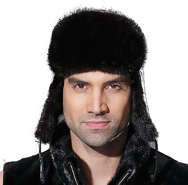 2016 Mens//Womens Farm Rabbit Fur Winter Warm Hat//Russian Bombers Cheek Hat Nice