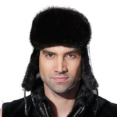 710b10029ab7d URSFUR Winter Leather Men Fur Hat Real Mink Fur Russian Trapper Hats Black