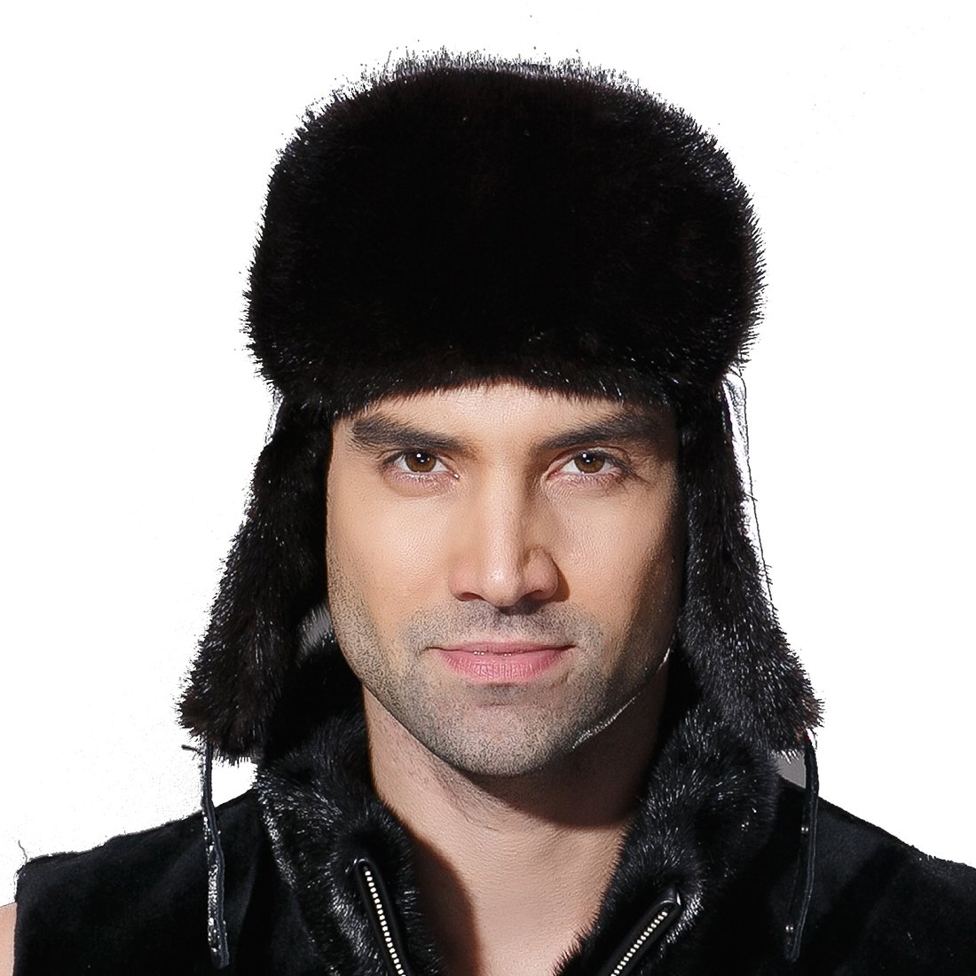 URSFUR Winter Leather Men Fur Hat Real Mink Fur Russian Trapper Hats Black