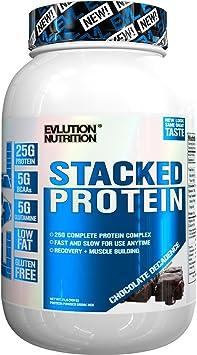 Evlution Nutrition Stacked Protein 908 g Proteína en Polvo con 25 Gramos de Proteínas, 5 Gramos de BCAA y 5 Gramos de Glutamina (Chocolate Decadence)