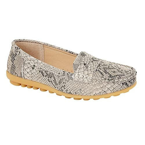 Womens Ladies Flat Loafers Casual Comfort Snake Skin Work Pumps Shoes Size 3-8