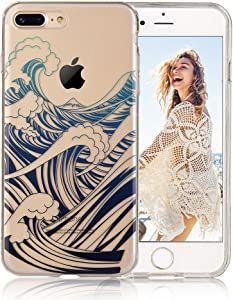 COSANO iPhone 7 Plus case,for iPhone 8 Plus case Premium Quality Blue sea Wave Nature Pattern [Hard PC Back + Soft TPU Bumper] [Ultra Thin] Crystal Clear with Design for iPhone 7/8 Plus (Wavez 7P)