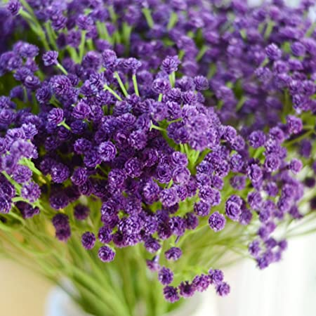 Image ofLianLe Flores artificiales, flor nube de novia, ramo, para decorar la mesa, una boda, una fiesta, morado, talla única