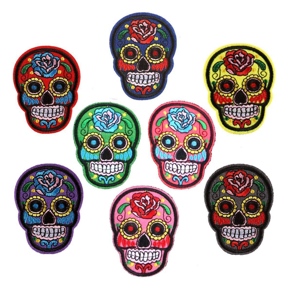 Confezione da 8 toppe colorate con teschio e teschio messicano ricamate termoadesive per jeans arti e mestieri giacche borse
