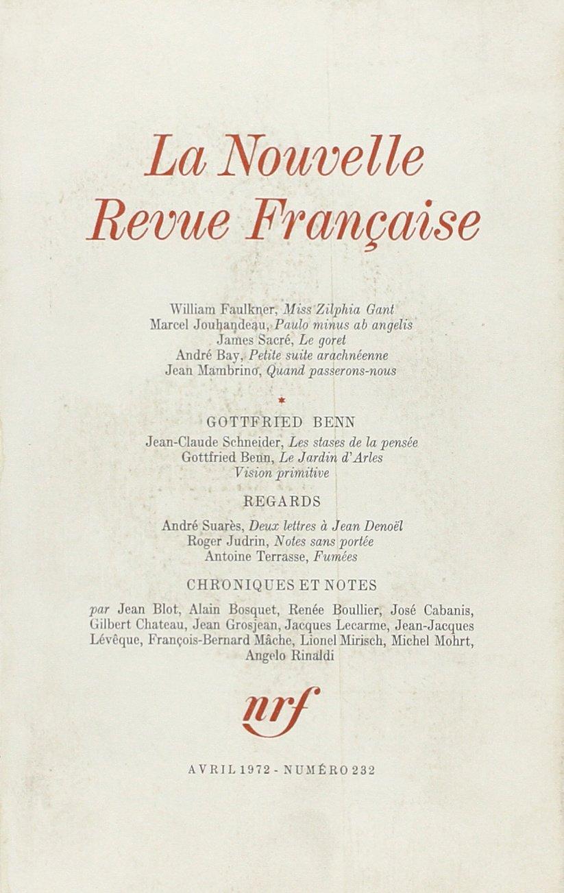 La Nouvelle Revue Française N232: Amazon.de: La Nouvelle Revue ...