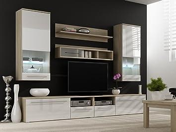 Wohnwand LUNA mit LED Beleuchtung Wohnzimmer Möbel in Hochglanz ...