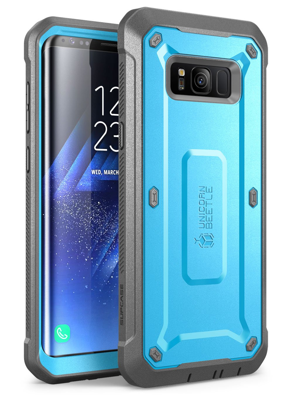 Samsung Galaxy S8 Case, SUPCASE Full-body Rugged Holster Case with Built-in Screen Protector for Galaxy S8 (2017 Release), Not Fit Galaxy S8 Plus, Unicorn Beetle Shield Series - Retail Package (Blue)