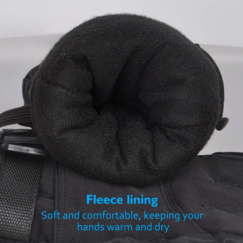 Ski Gloves - Winter Waterproof Snow Gloves with Zipper Pocket, Adjustable Size Warm Snowboarding Gloves for Skiing, Shoveling, Skating, Fits Men & Women