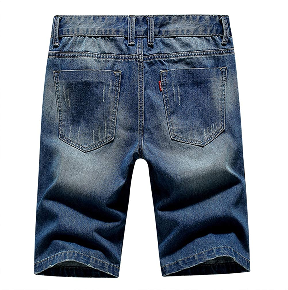 Mens Denim Shorts Jeans Pants 5 Pocket Casual Ripped Distressed Slim Fit for Men