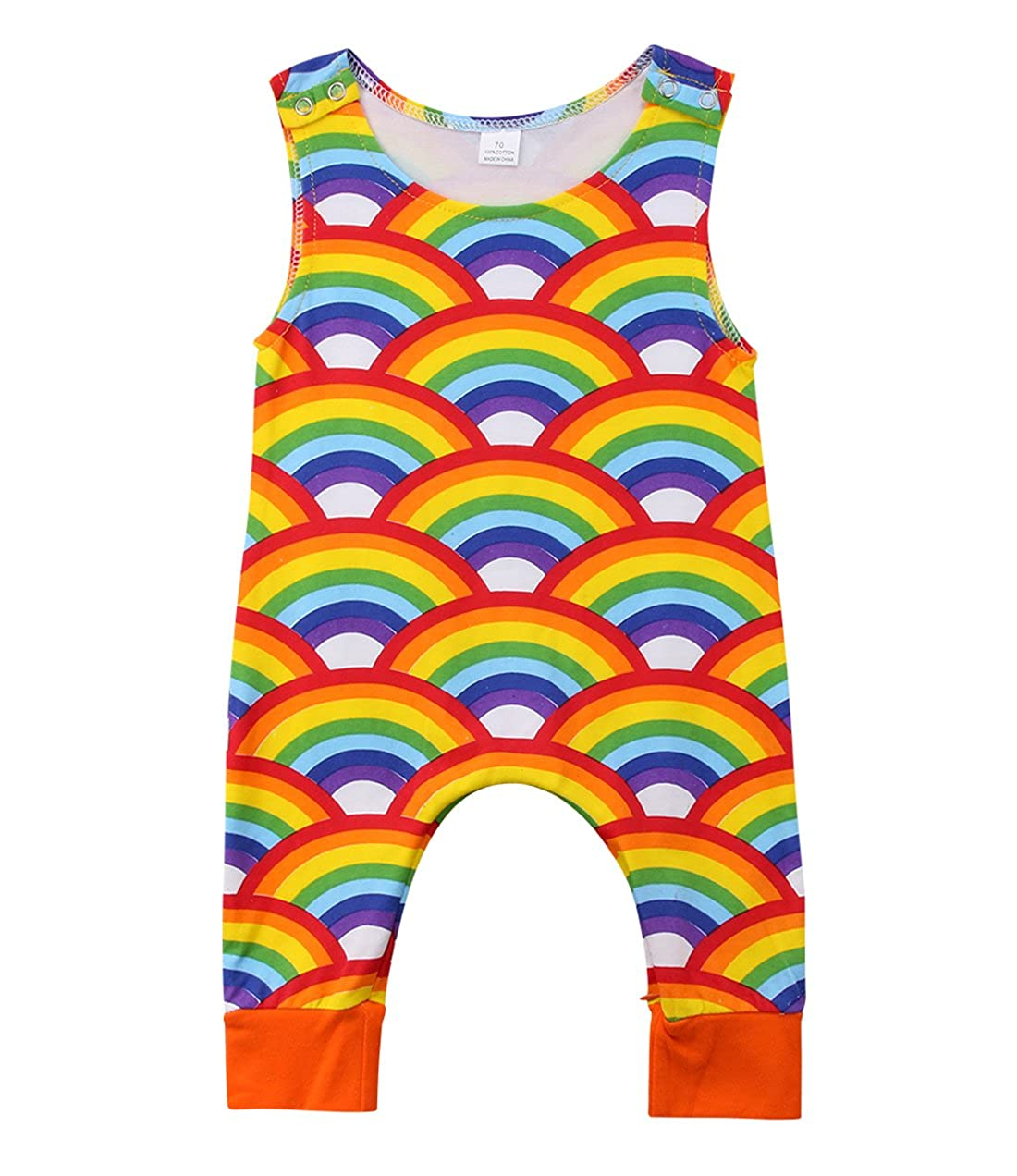 Faithtur Baby Boys Girls Outfit Sleeveless Rainbow Romper Bodysuit with Zipper