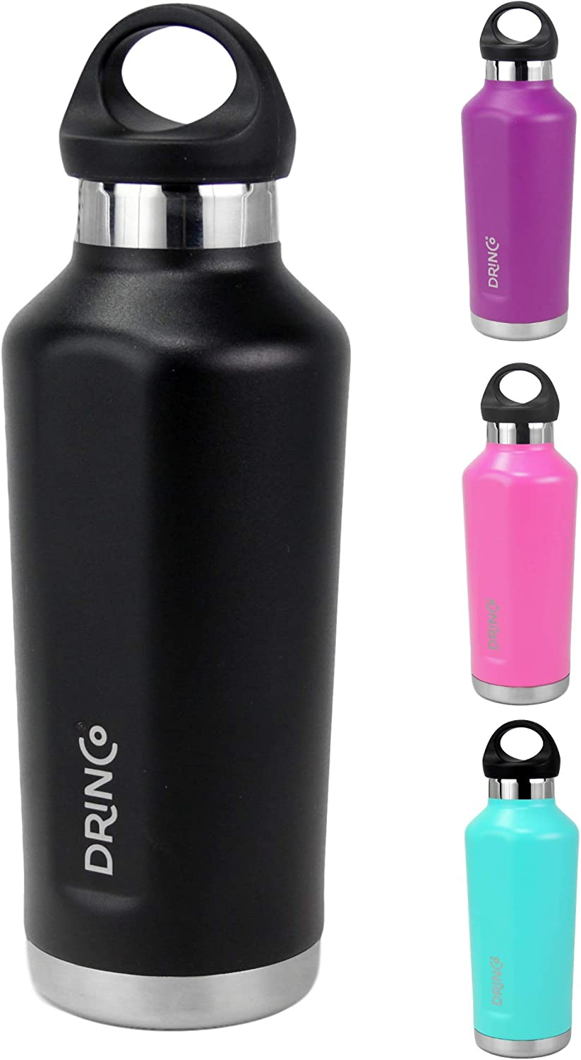 Drinco stainless steel water bottle insulated water bottle| Canteen | Loop Cap | Double Wall | Wide Mouth | Triple Insulated | Powder Coated Durability |18/8 Grade | 17oz (Black, 17oz Canteen)