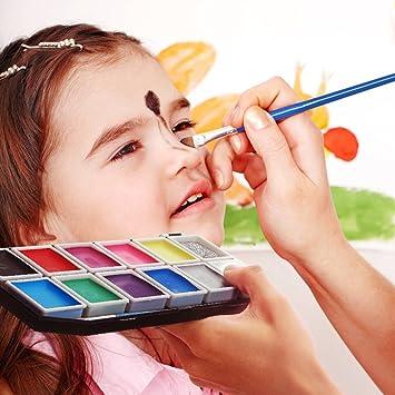 Kinderschminke Schminkset, Schminkpalette mit 11 Sicher und Gesund Farben, 1 Glitzer, 3 Pinsel , Schminkasten Profischmink fü