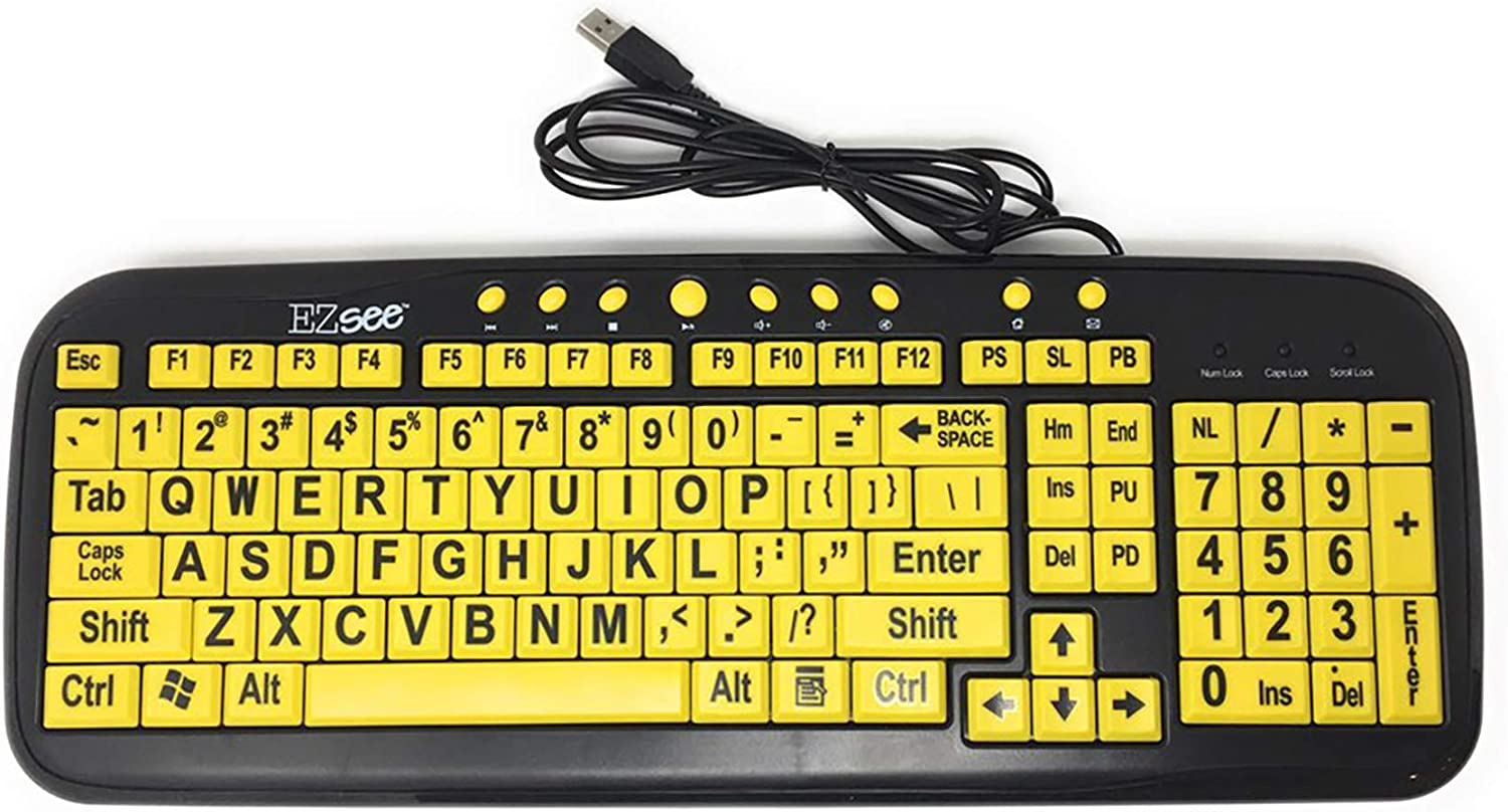 Value-5-Star USB Big letters Yellow button Elderly keyboard