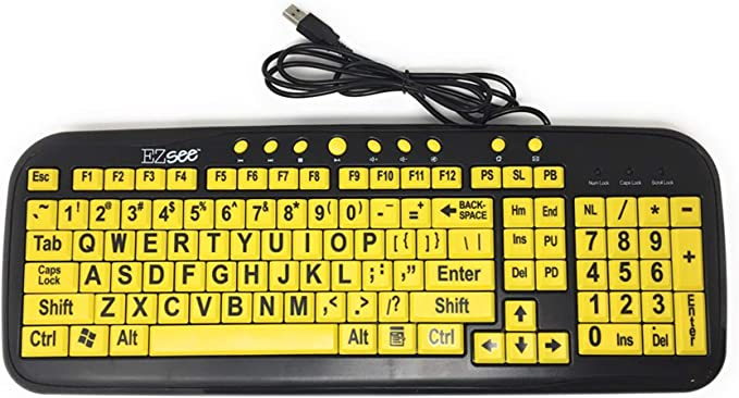 DC EZSee by New and Improved Model USB Wired Large Print English QWERTY Keyboard Black Keys with Jumbo Bold White Letters