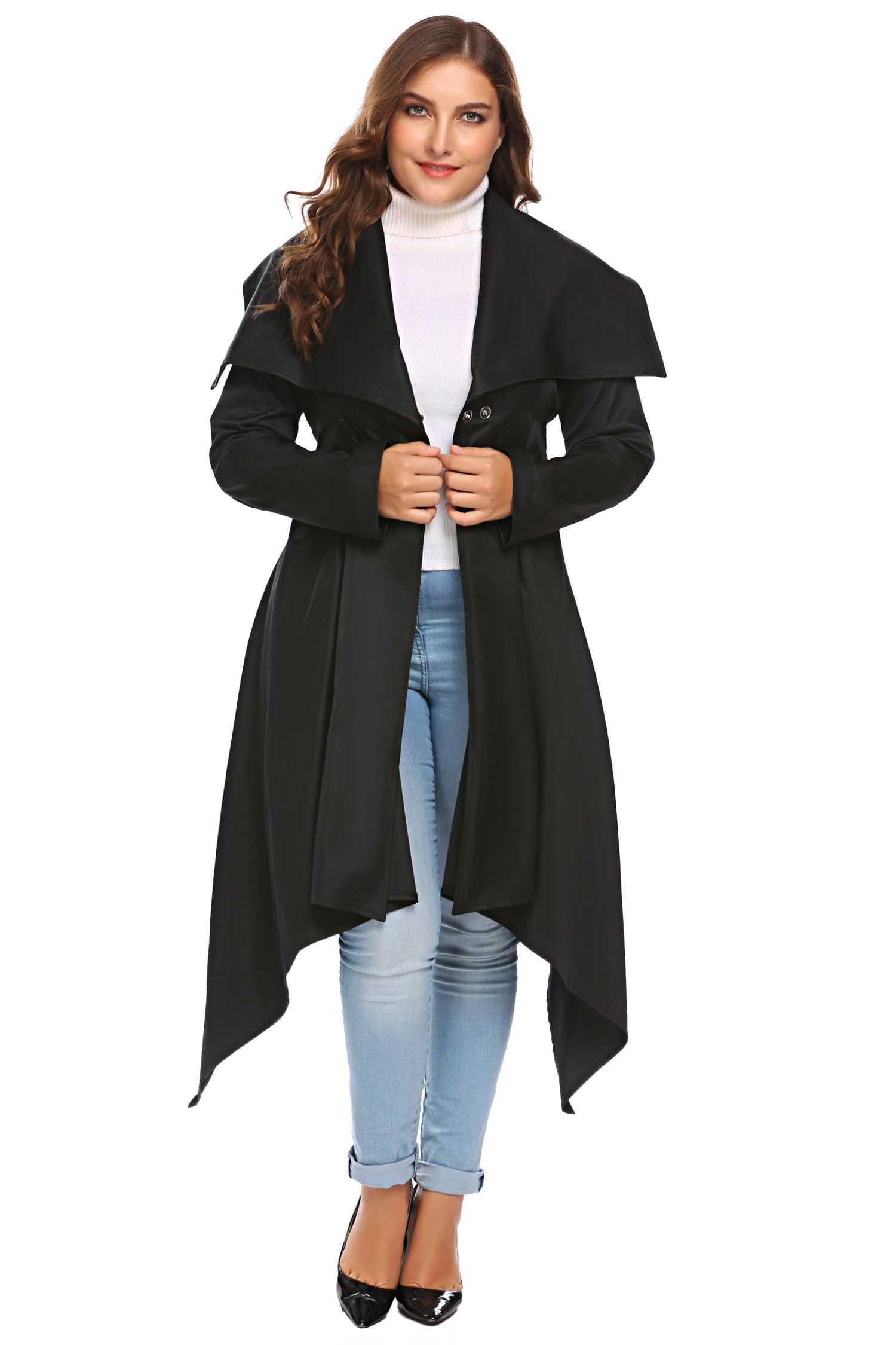 Involand Women Plus Size One-Button Lapel Long Sleeve Asymmetrical Trench Coat