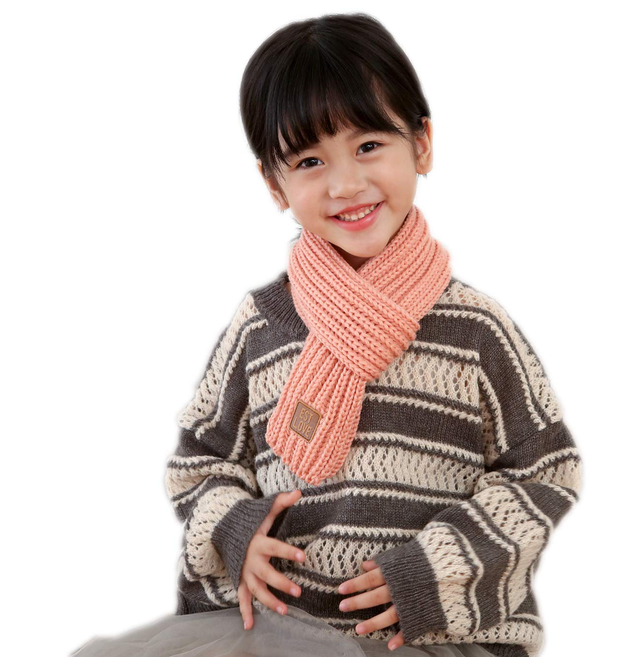46.4 * 3.5 Unisex Kids Thick Knitted Warp Scarf Children Boys Girls Solid Color Winter Neck Warmer Shawl Light grey, one size fits for 2-6T
