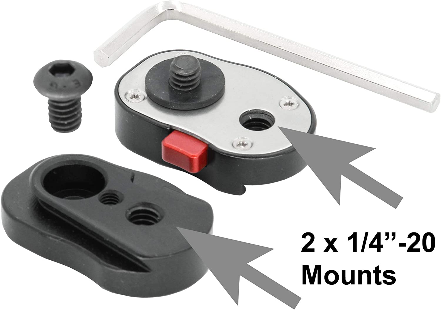 4 lb weight capacity Articulated Arm Mount Set of 3 GyroVu Professional 1//4 Mini Quick Release Plate System with Self Locking Mechanism for any Tripod
