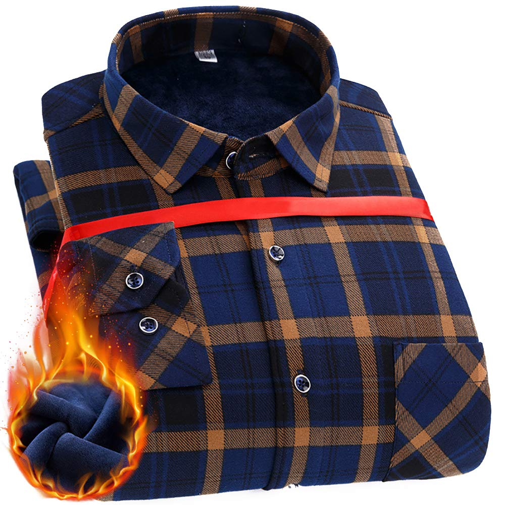 Mens Long Sleeve Thermal Flannel Plaid Fleece Shirt #ZD