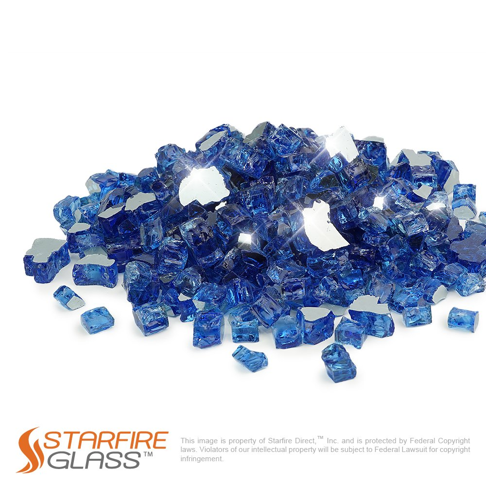 Golden Flame® 10-Pound Fire Glass 1/2-Inch Caribbean Blue **Reflective**