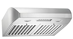 KOBE CHX2230SQB-1 Brillia 30-inch Under Cabinet Range Hood, 3-Speed, 680 CFM, LED Lights, Baffle Filters