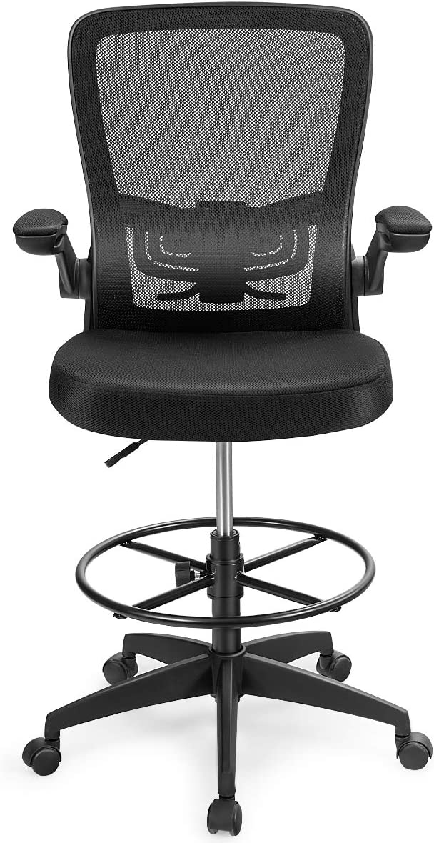 Giantex Drafting Chair, Adjustable Tall Office Chair for Standing Desk, Mesh Office Chair w/Footrest Ring, Flip-Up Armrest, Comfortable Lumbar Support for Home Office Furniture