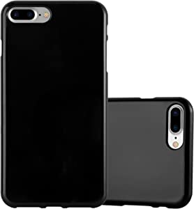 Cadorabo Case Compatible with Apple iPhone 8 Plus / 7 Plus / 7S Plus in Jelly Black - Shockproof and Scratch Resistant TPU Silicone Cover - Ultra Slim Protective Gel Shell Bumper Back Skin